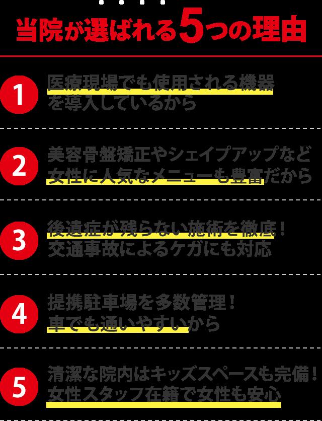 当院が選ばれる5つの理由